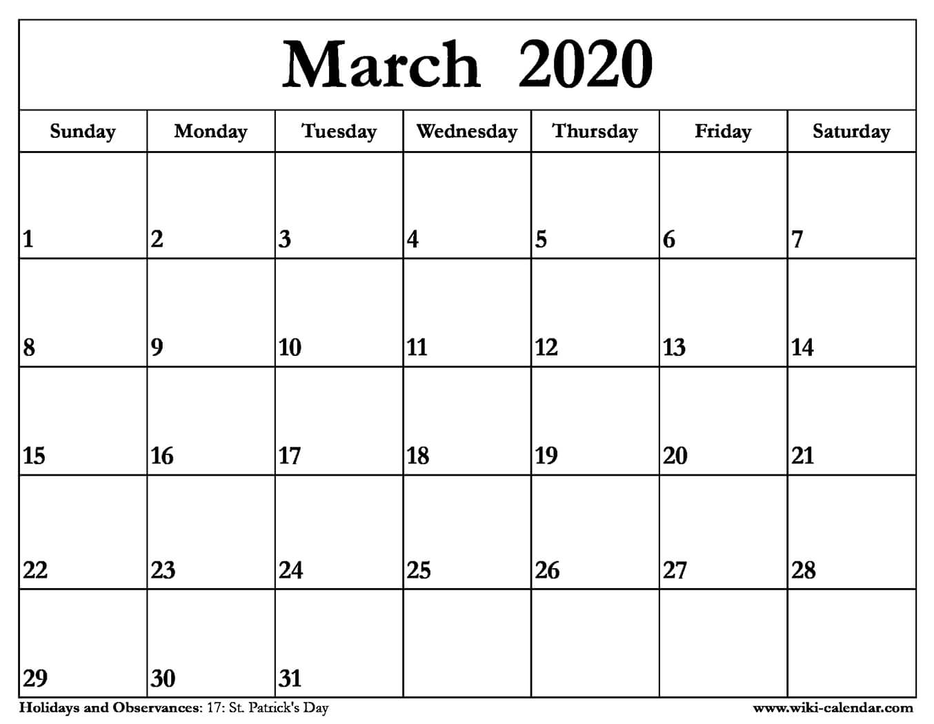 Monthly Calendar 2020 March - Wpa.wpart.co