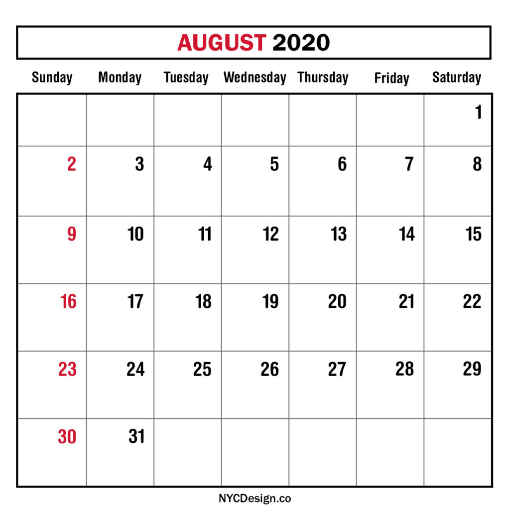 Monthly Calendar August 2020, Monthly Planner, Printable