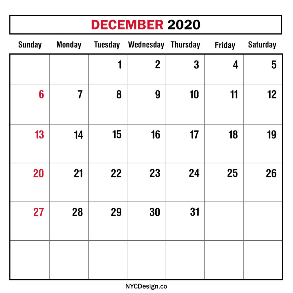 Monthly Calendar December 2020, Monthly Planner, Printable