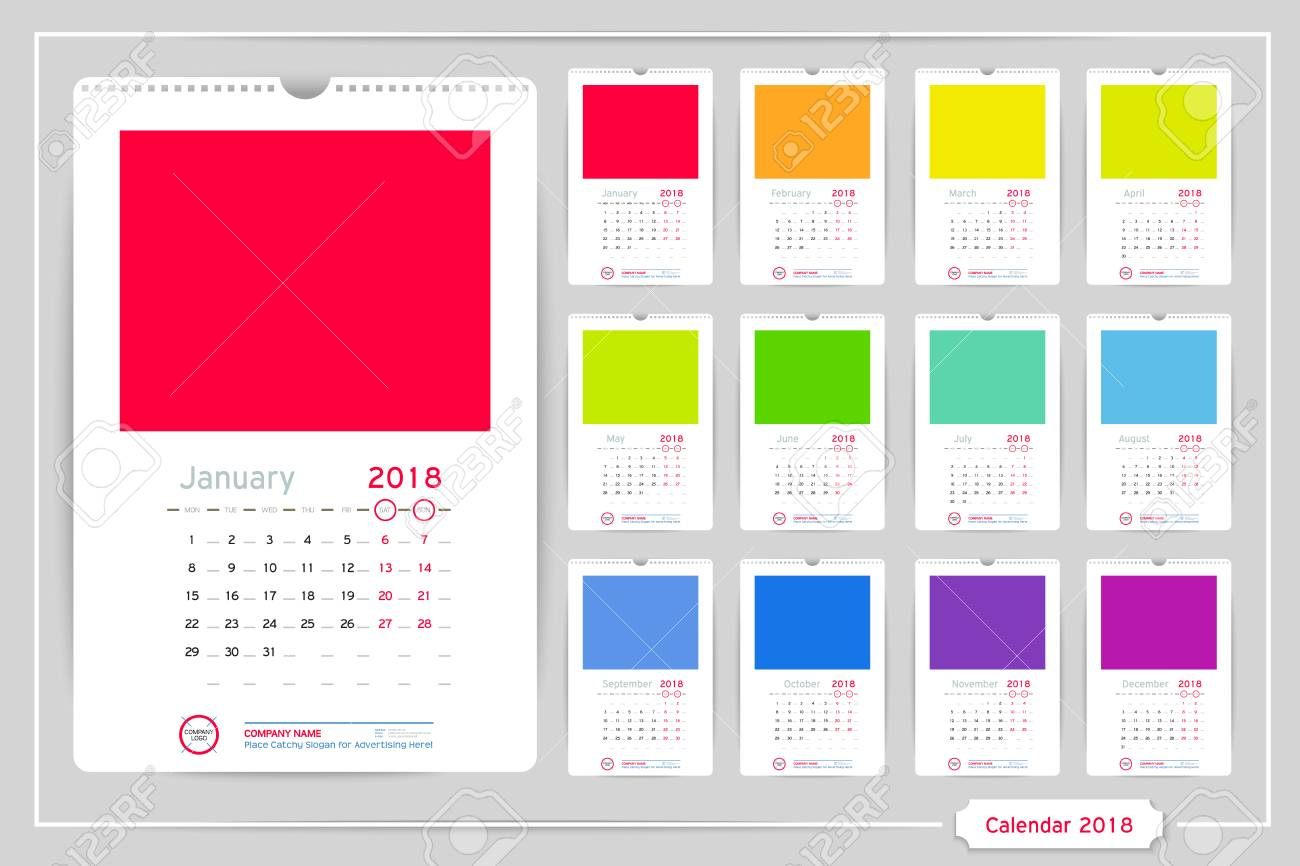 Monthly Calendar For Year 2018. Vector Design Template With Space For Photo  And Corporate Elements On Dark Background. Portrait Orientation For Wall