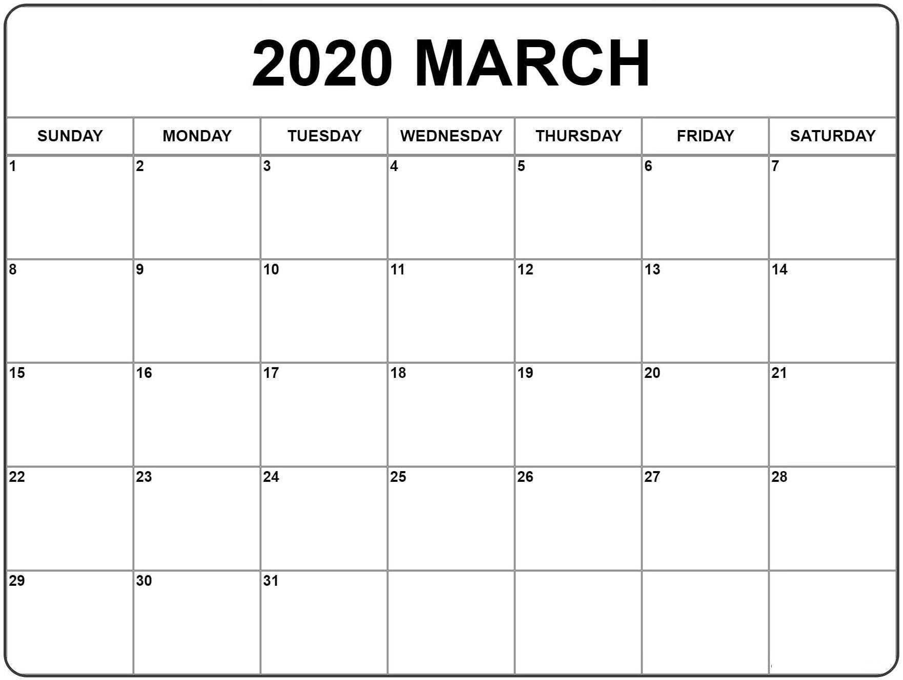 Monthly Calendar March 2020 Printable Template - Set Your