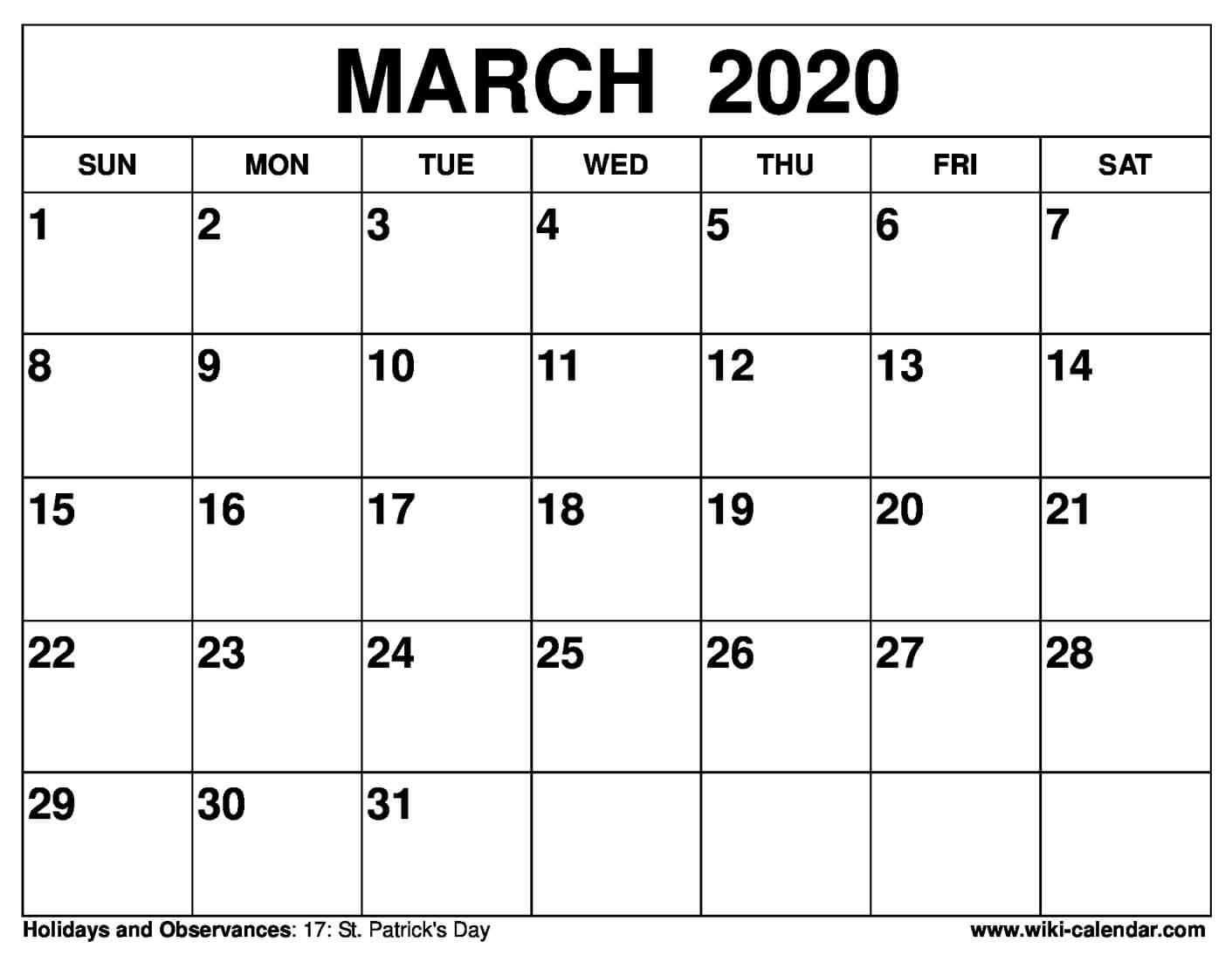 Monthly Calendar March 2020 - Wpa.wpart.co