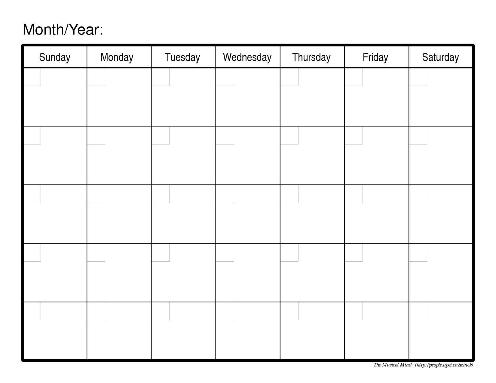 Monthly Calendar No Dates – Printable Week Calendar
