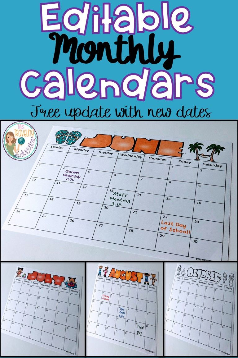 Monthly Calendar Template (2019-2022) | Student Calendar