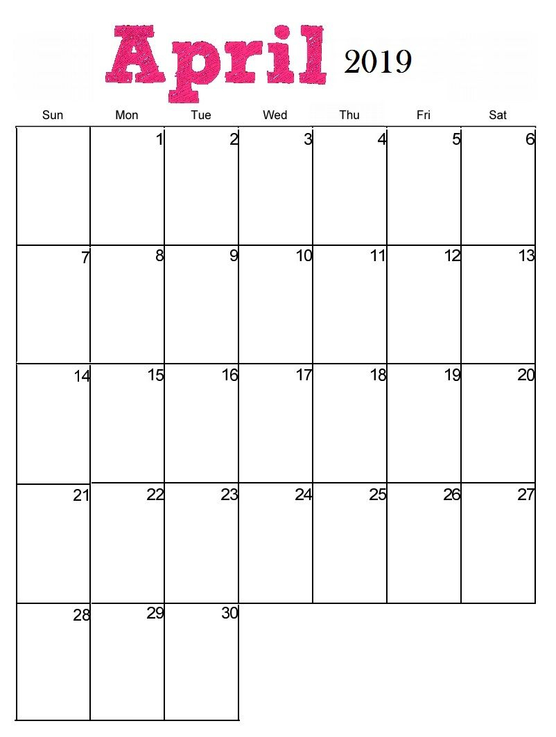 Monthly Calendar Template April 2019 | Blank Calendar