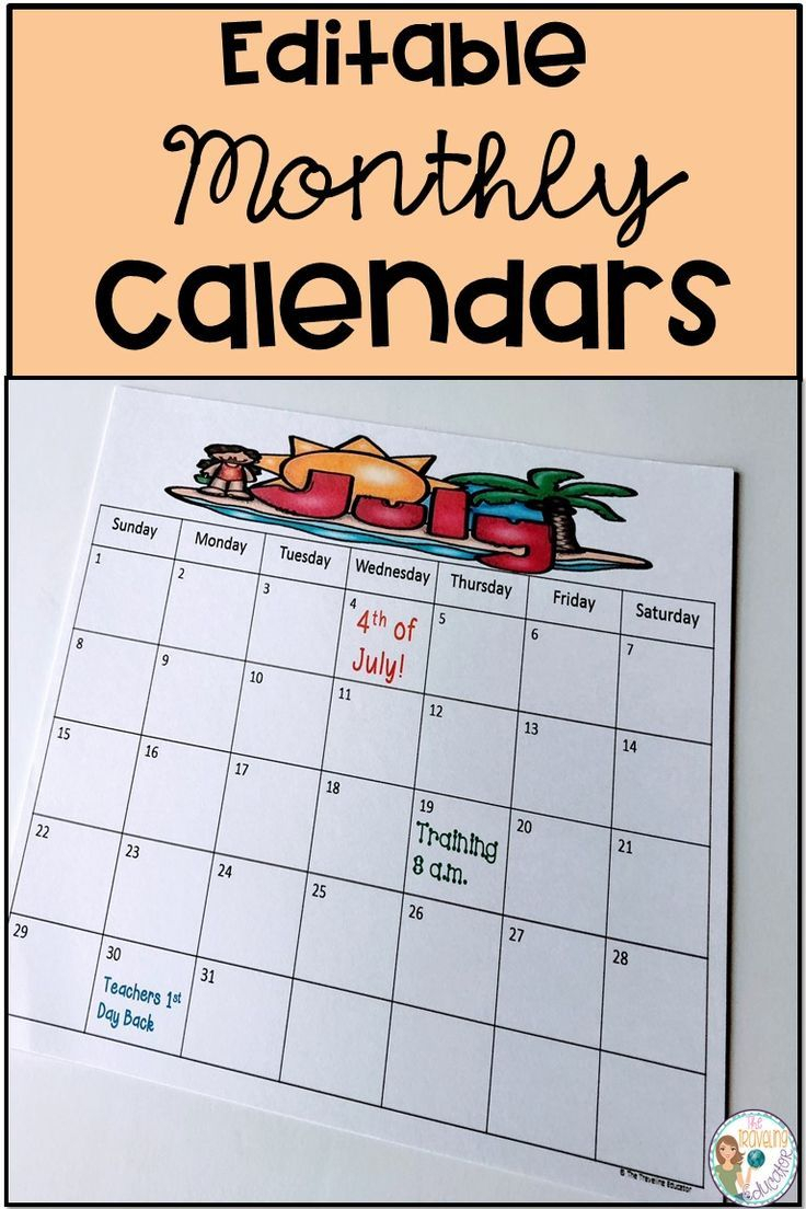 Monthly Calendar Template (Editable) | Monthly Calendar