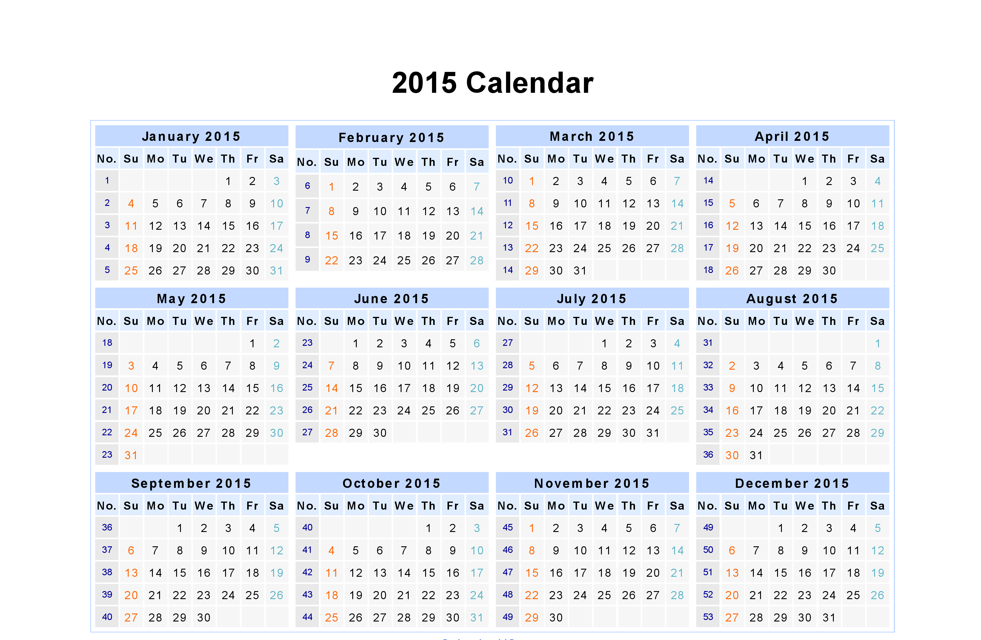 Monthly Date Wise Calendar Year 2015 | Excel Calendar, Free