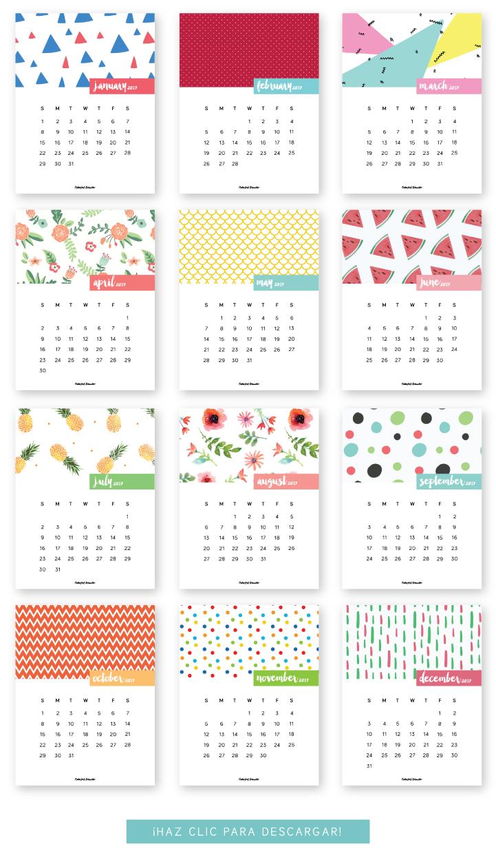 Monthly Printable Calendar 2017 | Печатные Календари