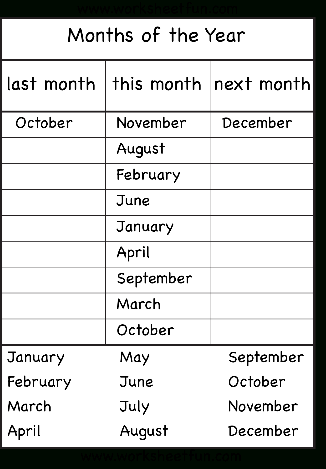 Months Of The Year - 4 Worksheets | Calendar And Weather