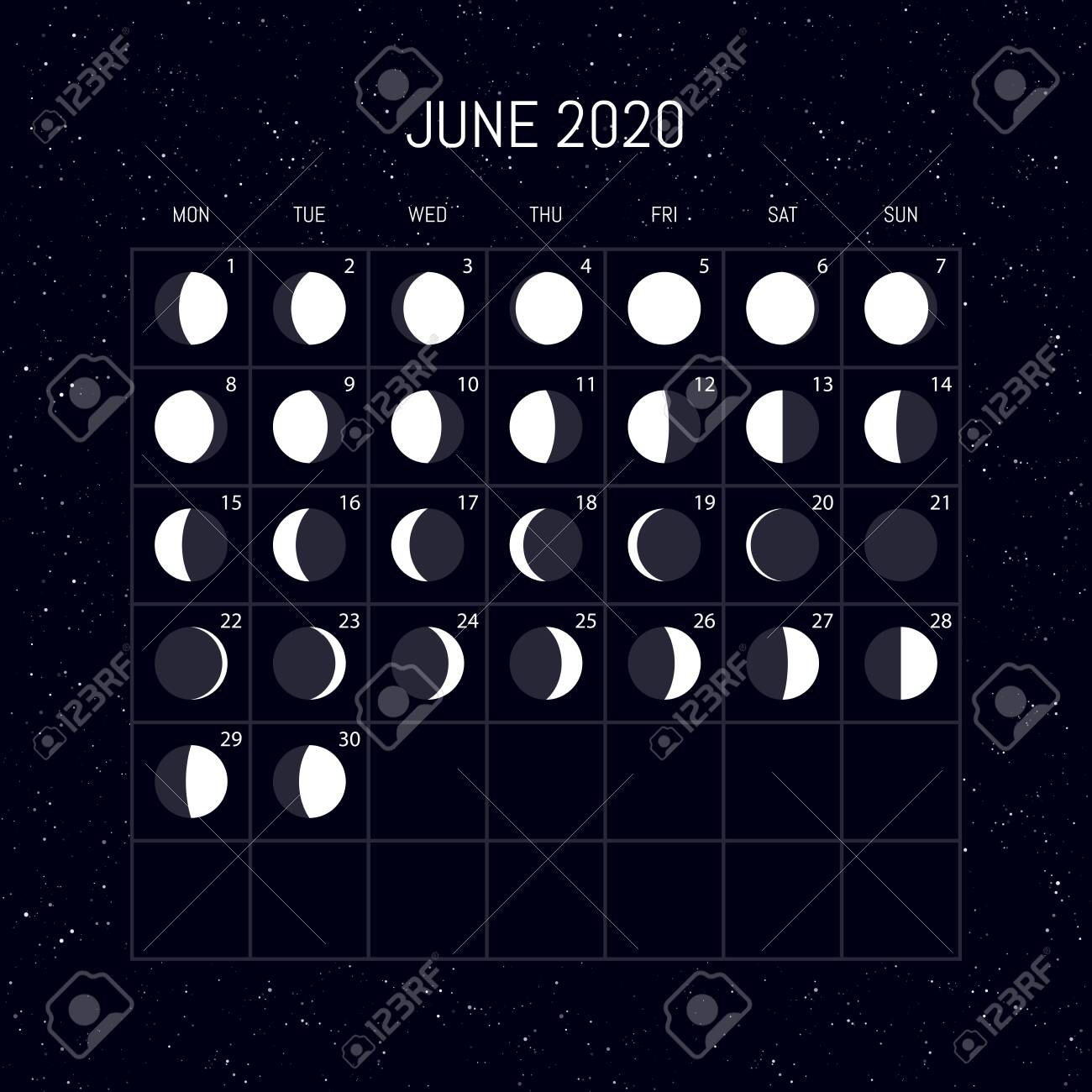 Moon Phases Calendar For 2020 Year. June. Night Background Design