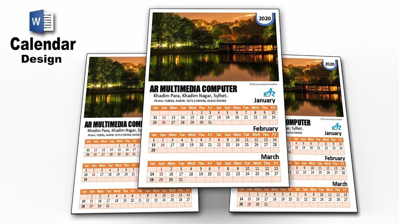 Ms Word Tutorial: Microsoft Word Calendar 2020| Calendar Design Ideas| Word  Monthly Calendarar