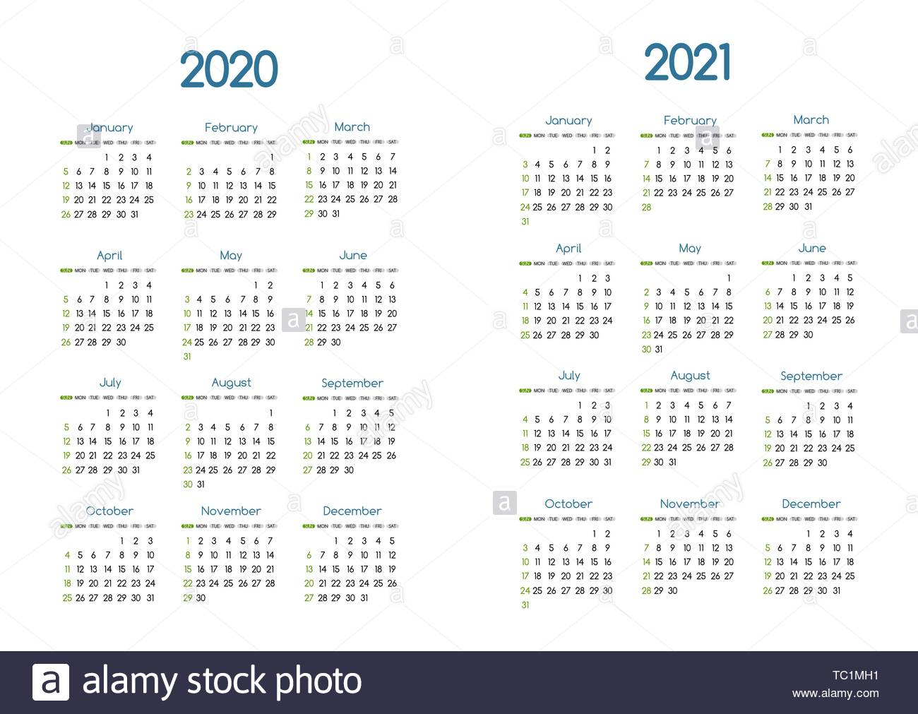 New Year 2020 And 2021 Vector Calendar Modern Simple Design