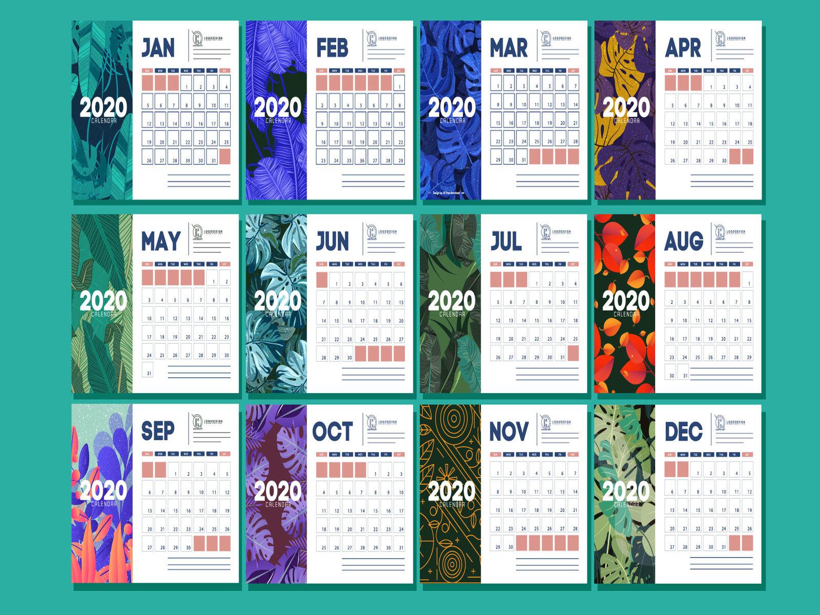 New Year 2020 Calendar Designmd Shopon Hossen On Dribbble