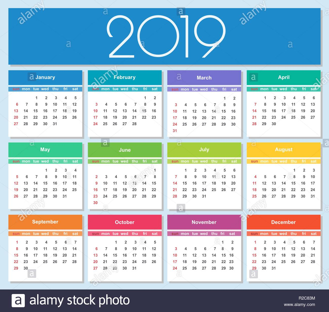 New Year Colorful Calendar | Wallpapers Snipe