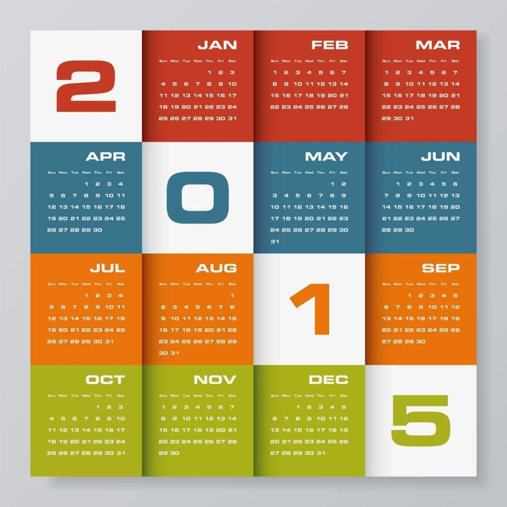 New Year Creative 3D Calendars , Colorful New Year 2015