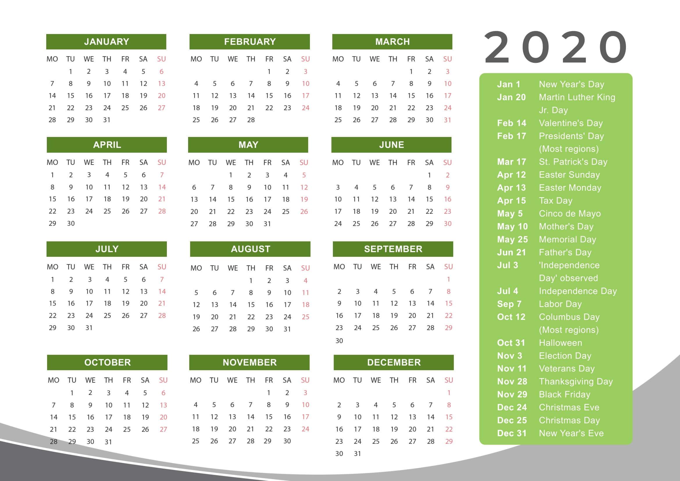 New Year Cute Calendar 2020 Holidays - 2019 Calendars For