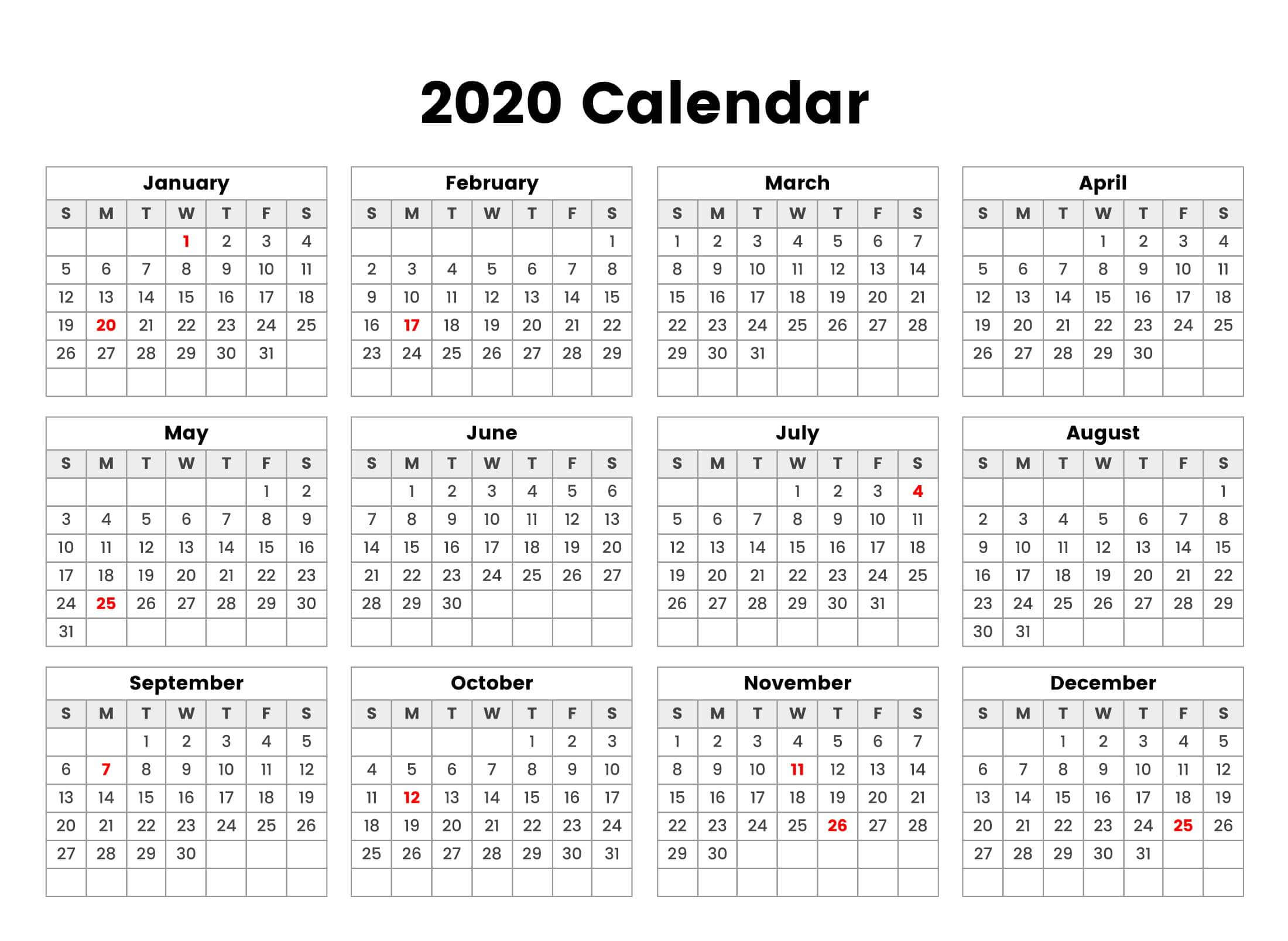 New Year Cute Calendar 2020 Holidays - 2019 Calendars For