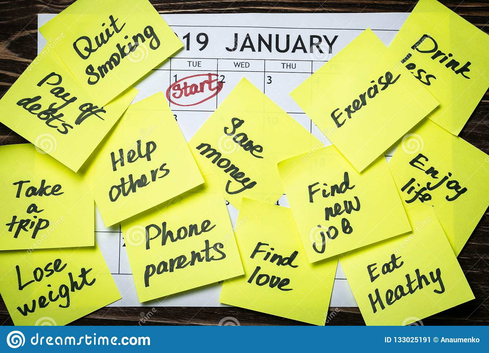 New Year Resolutions Concept - Resolutions On Post-It Notes