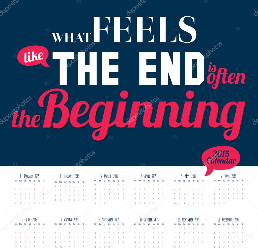 New Year Wall Calendar For 2015 With Inspirational And