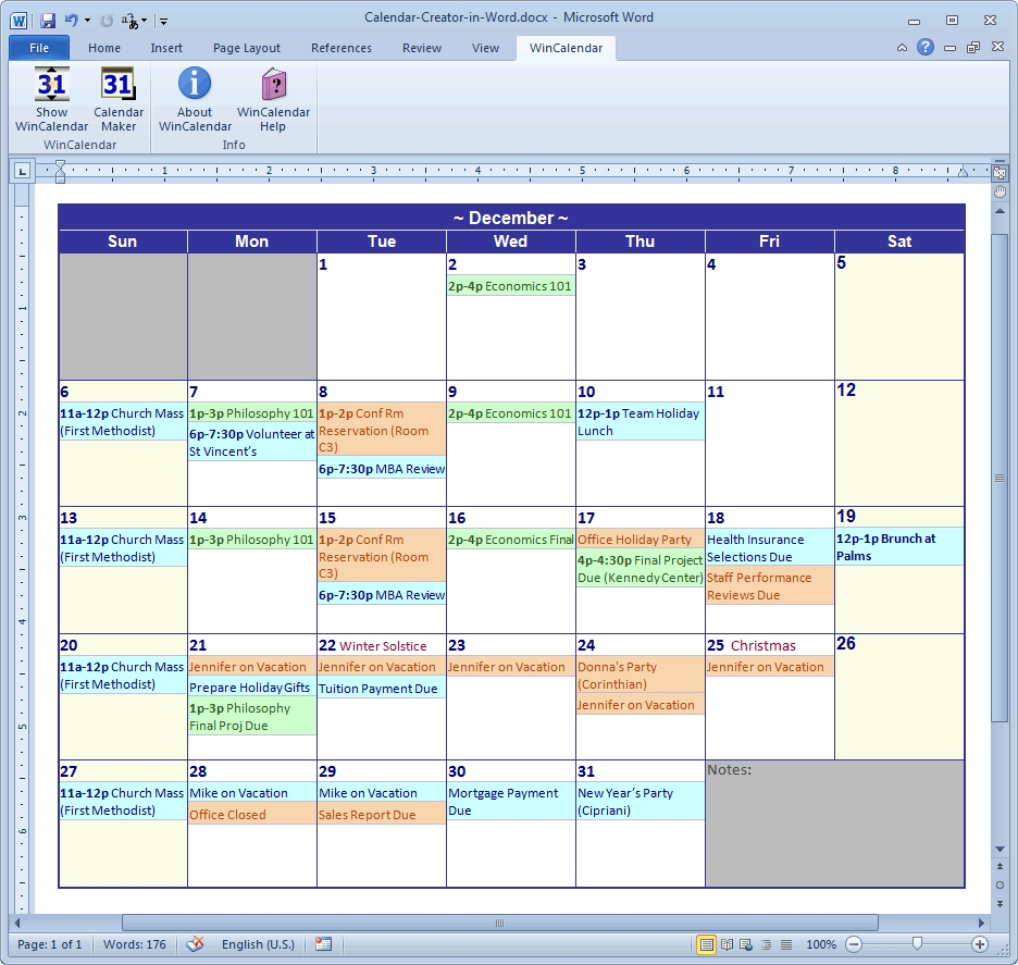 Nice Free Calendar Program For Windows 7 : Mini Calendar