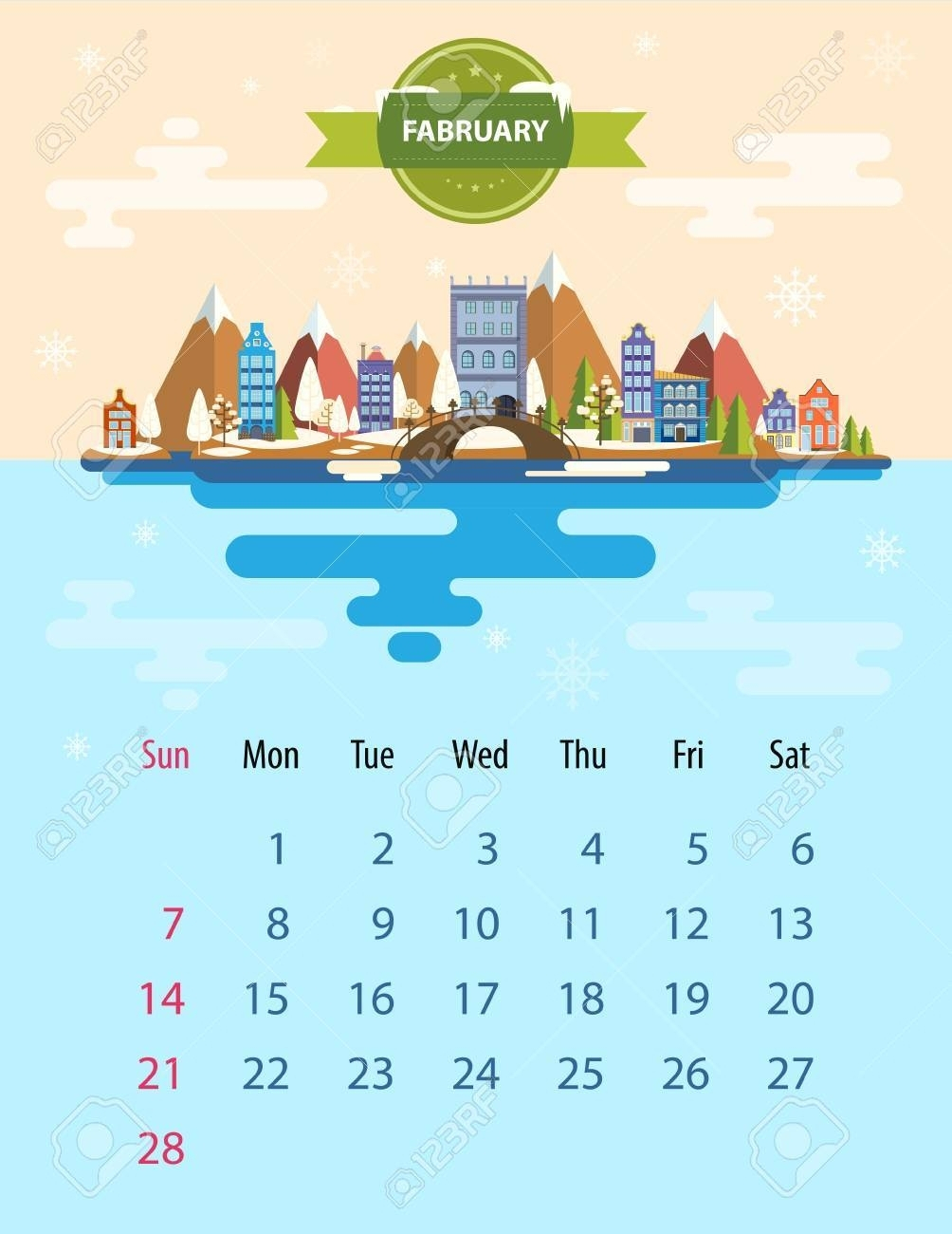 Nice Slim In 6 Calendar Free : Mini Calendar Template