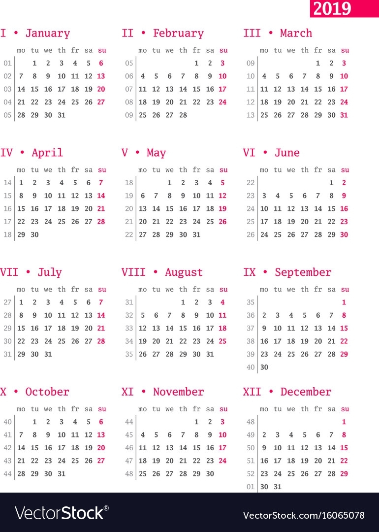 Nifty Year Calendar With Weeks : Mini Calendar Template