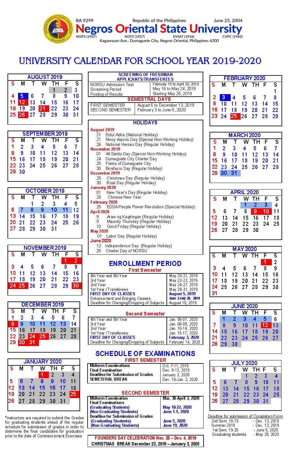 Norsu || Academic Calendar