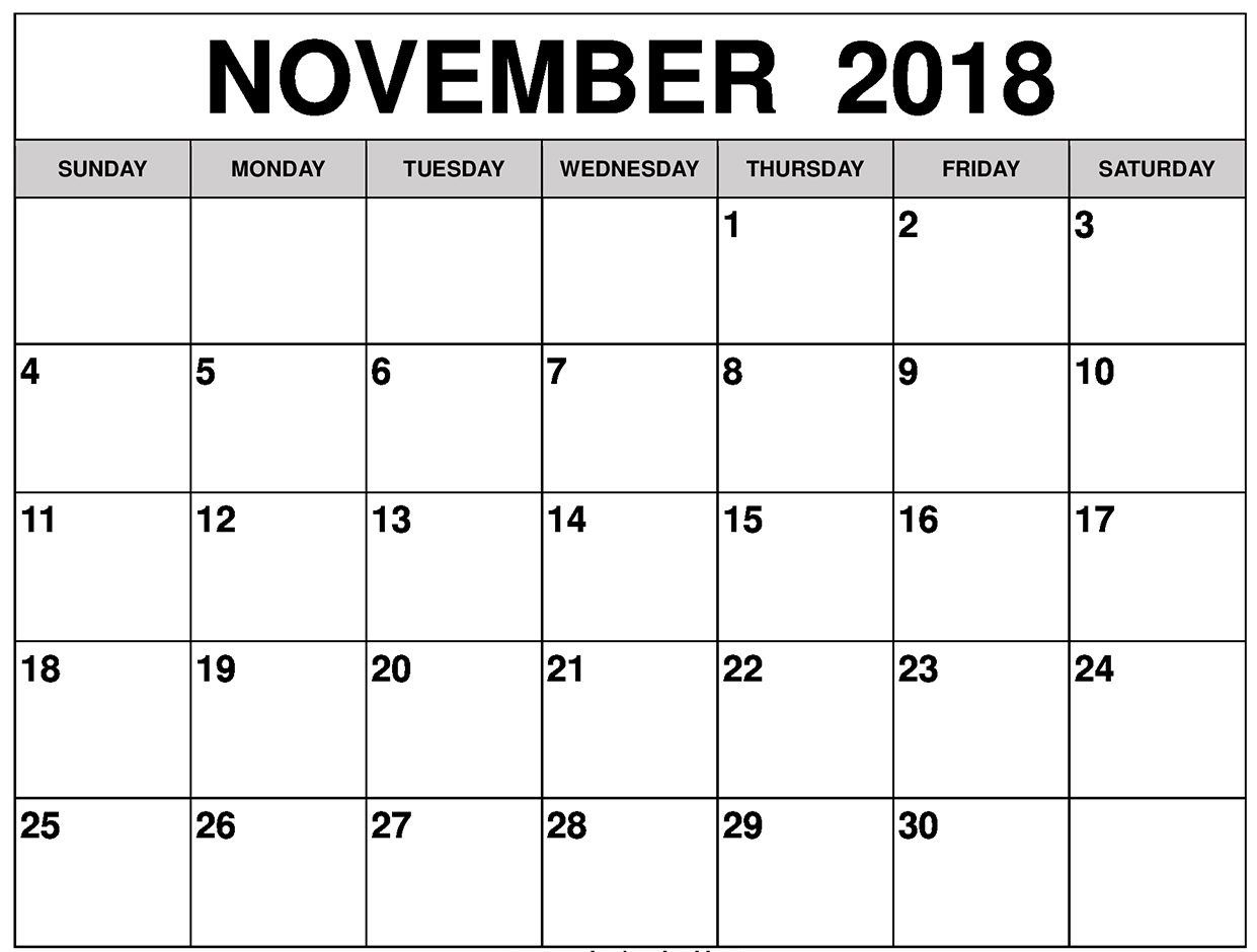 November 2018 Calendar In Editable Template | Printable