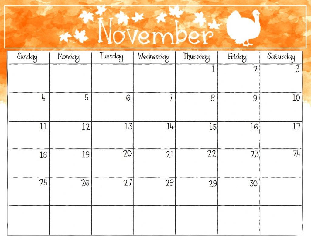 November 2018 Monthly Calendar | November Printable Calendar