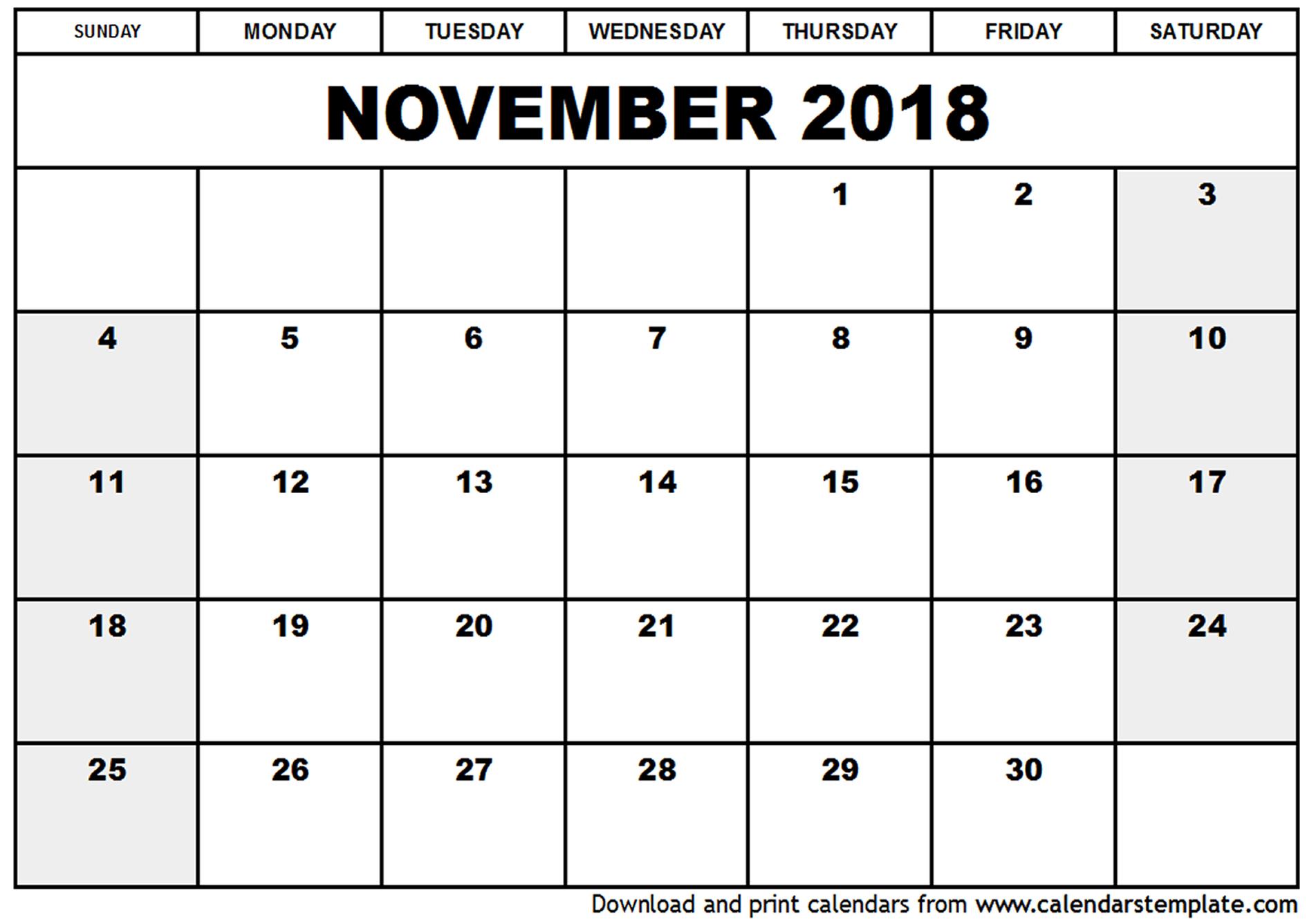 November 2018 Printable Calendar | Calendar For 2019