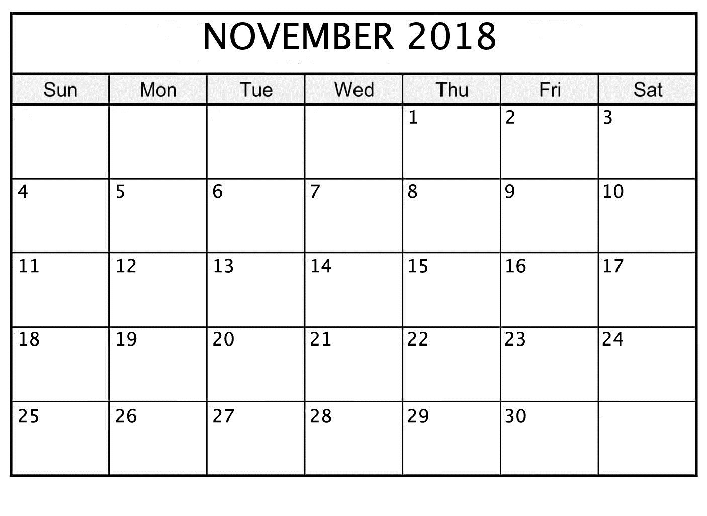 November 2018 Printable Calendar Date And Time | October