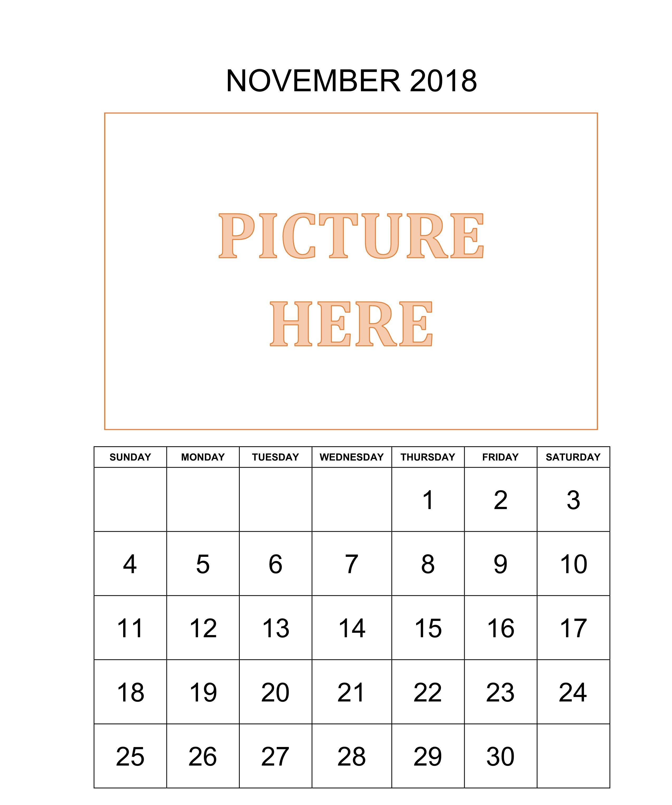 November 2018 Printable Calendar Waterproof | November 2018