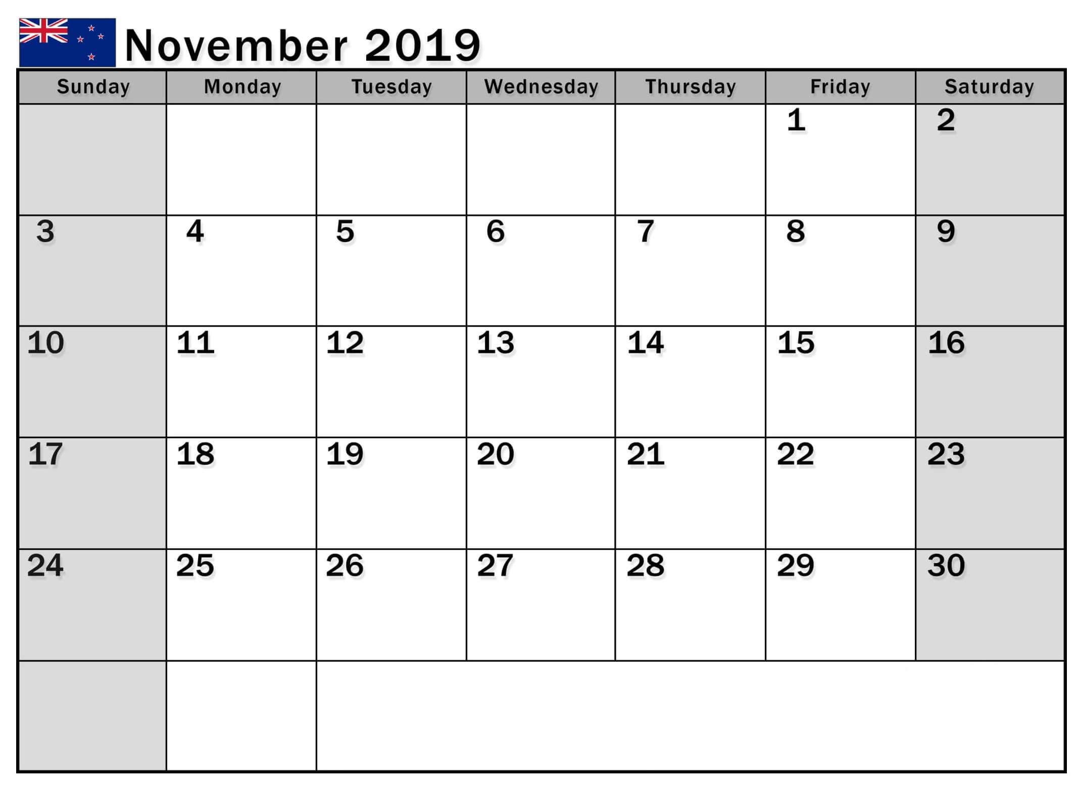 November 2019 Calendar Nz With National Holidays - 2019