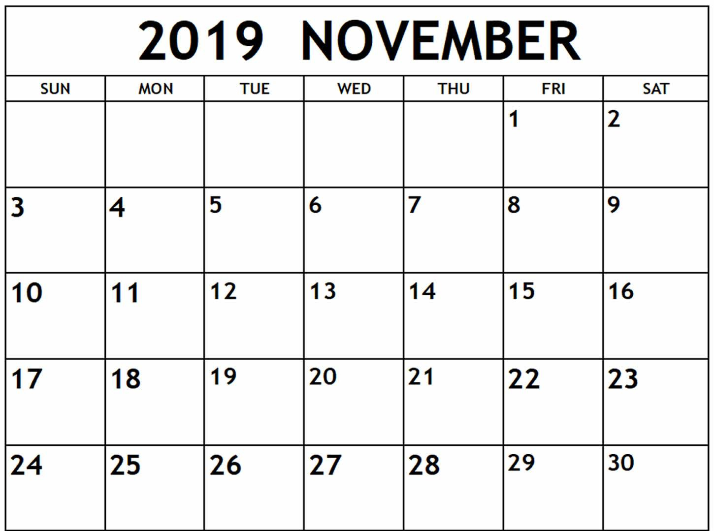 November 2019 Calendar Pdf, Word, Excel Template