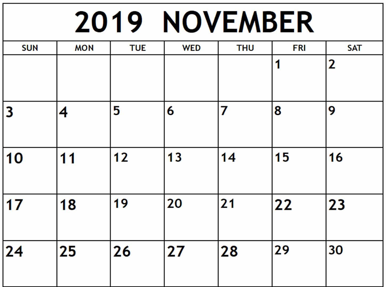 November 2019 Calendar Pdf, Word, Excel Template