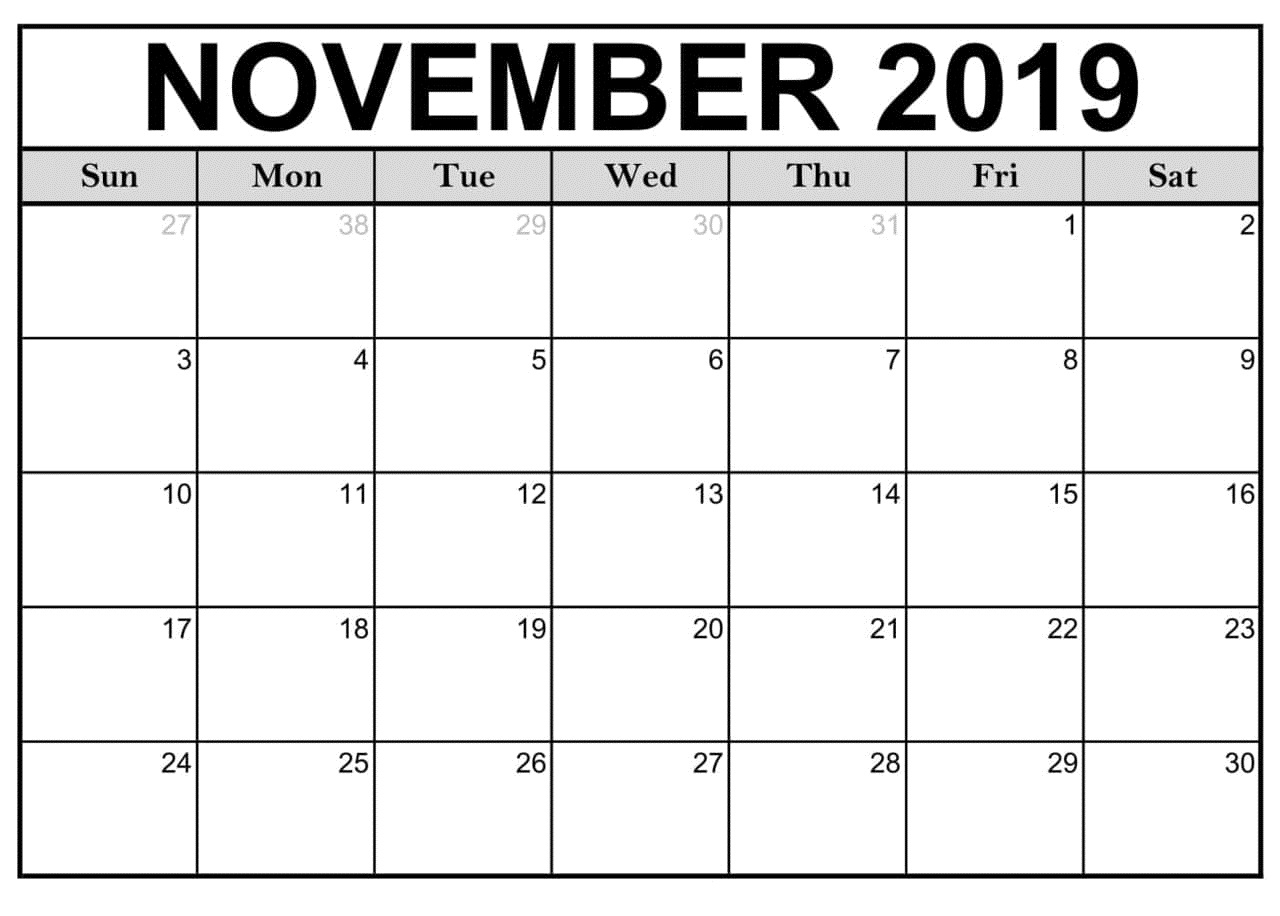 November 2019 Calendar Printablemonth Template - Latest