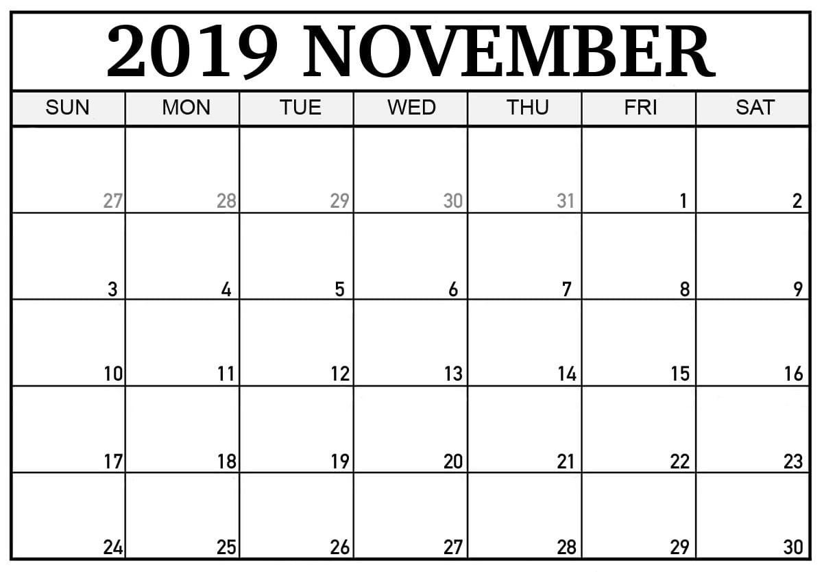 November 2019 Calendar With Large Dates - 2019 Calendars For