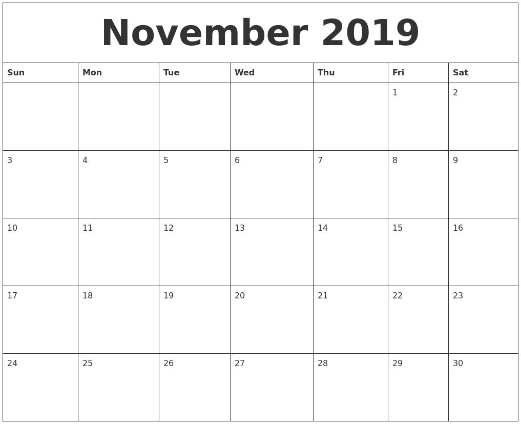 November 2019 Calendar Word | November Calendar, Monthly