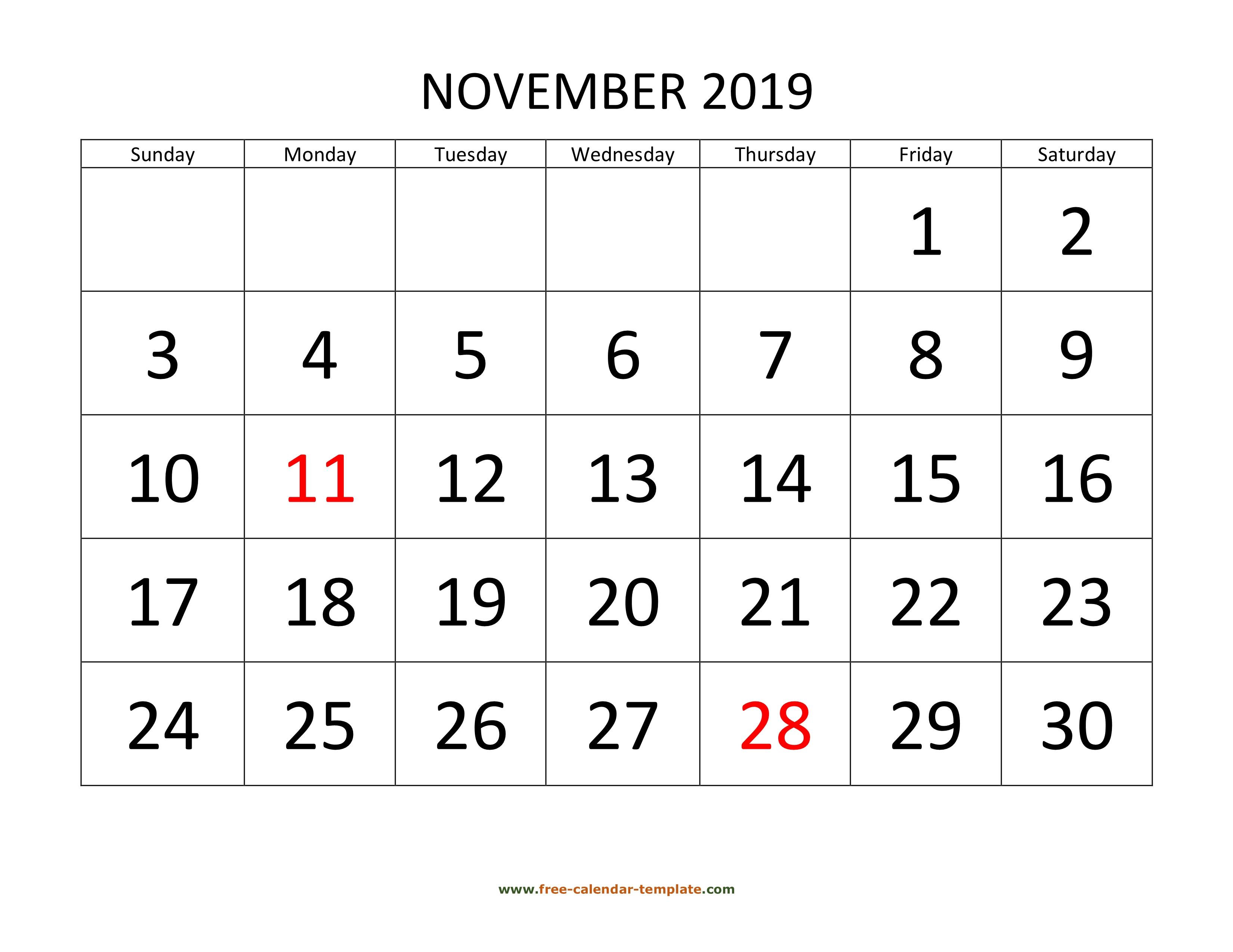 November 2019 Free Calendar Tempplate | Free-Calendar