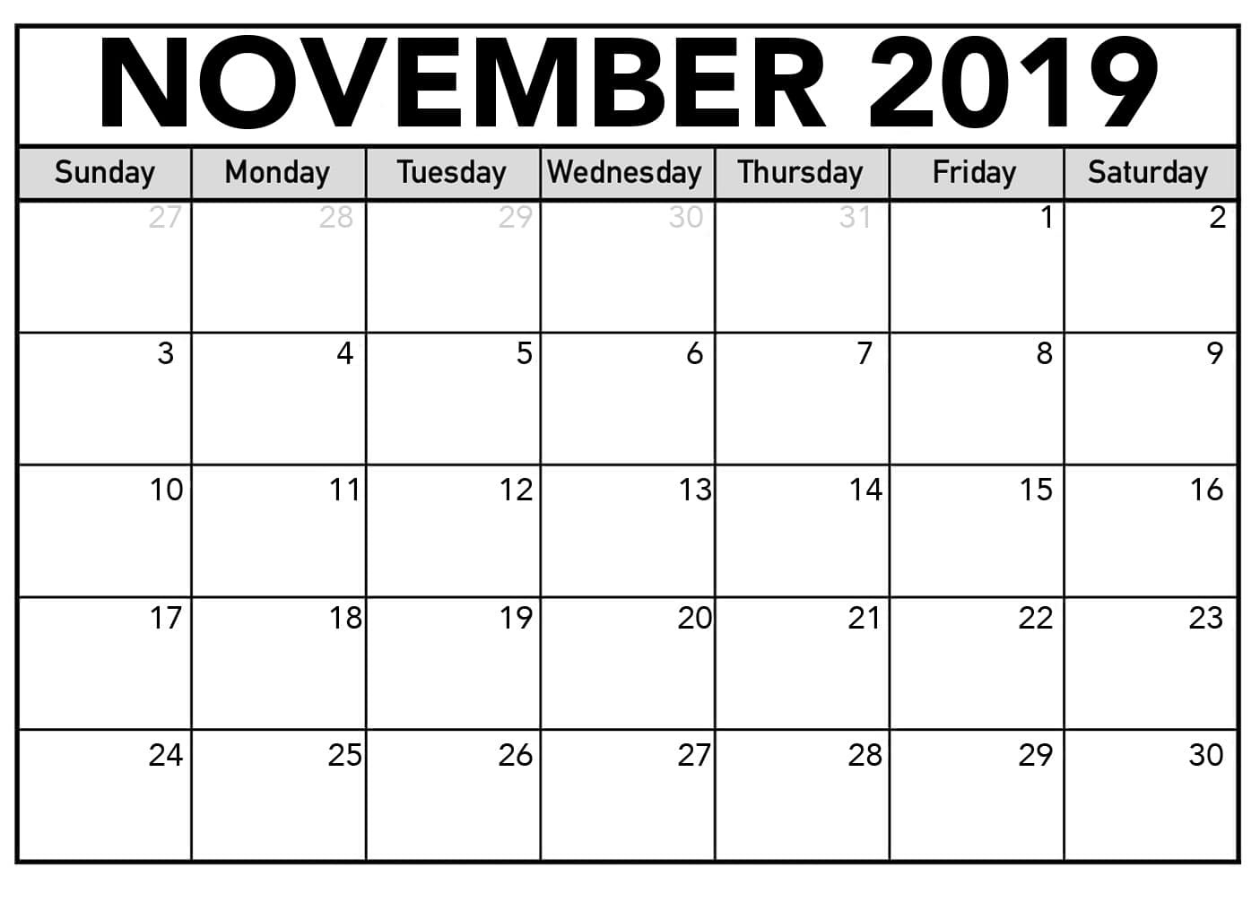 November 2019 Printable Calendar One Page Template - Latest