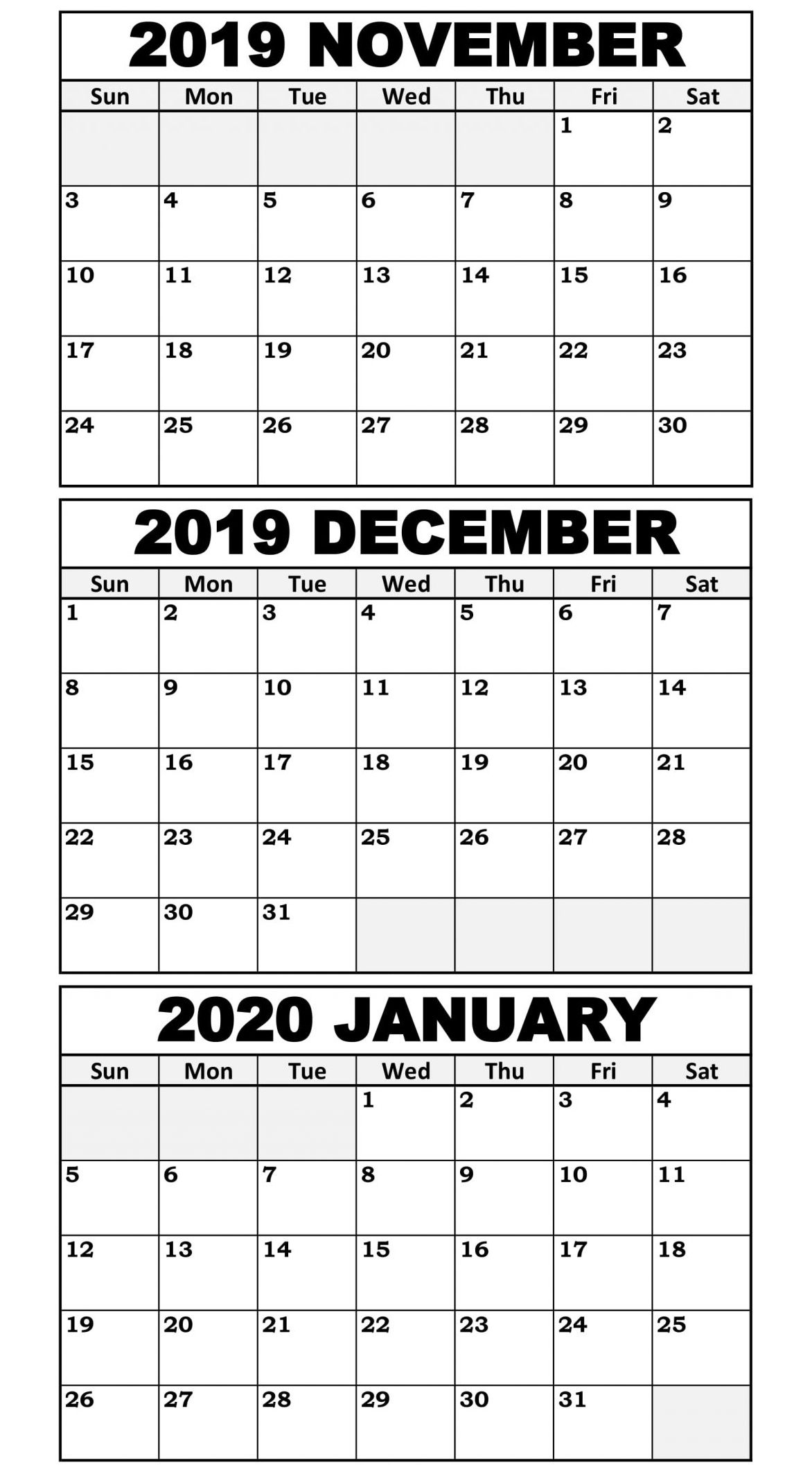 November 2019 To January 2020 Calendar Template - 2019