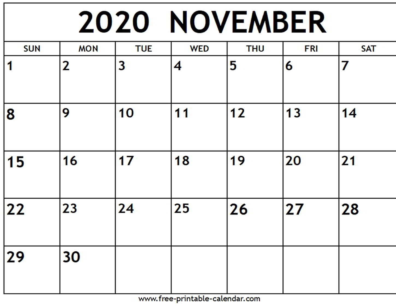 November 2020 Calendar – Free-Printable-Calendar – Calendar