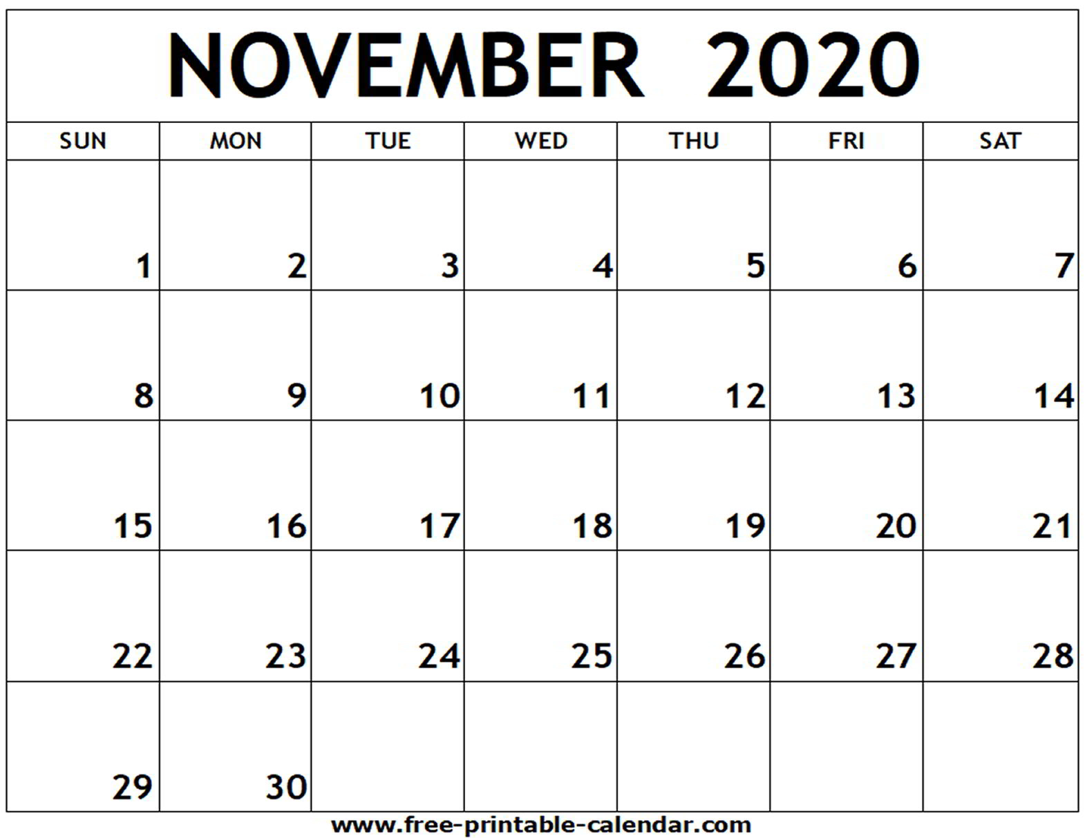 November 2020 Calendar Holidays Printable - Teke.wpart.co