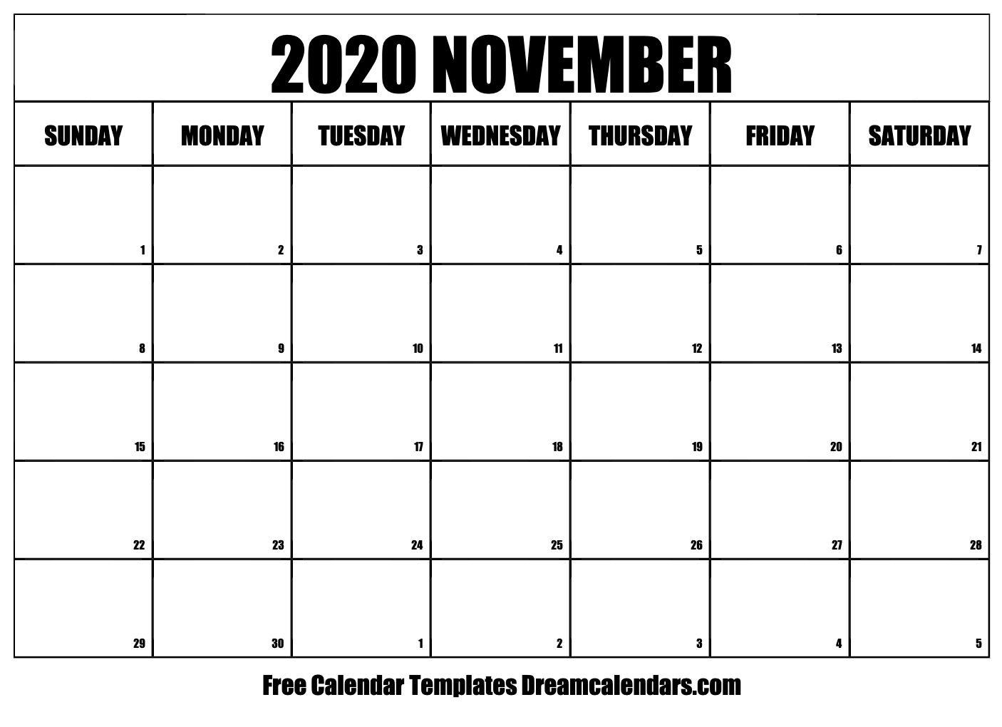November 2020 Calendar | November Calendar, Free Calendar