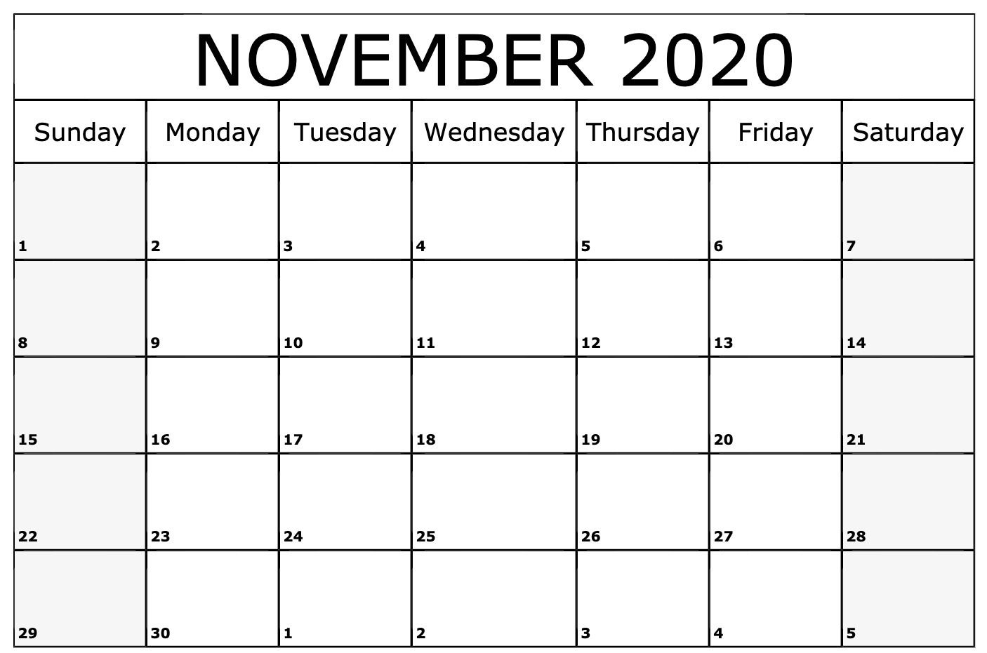 November 2020 Calendar Printable Template | July Calendar