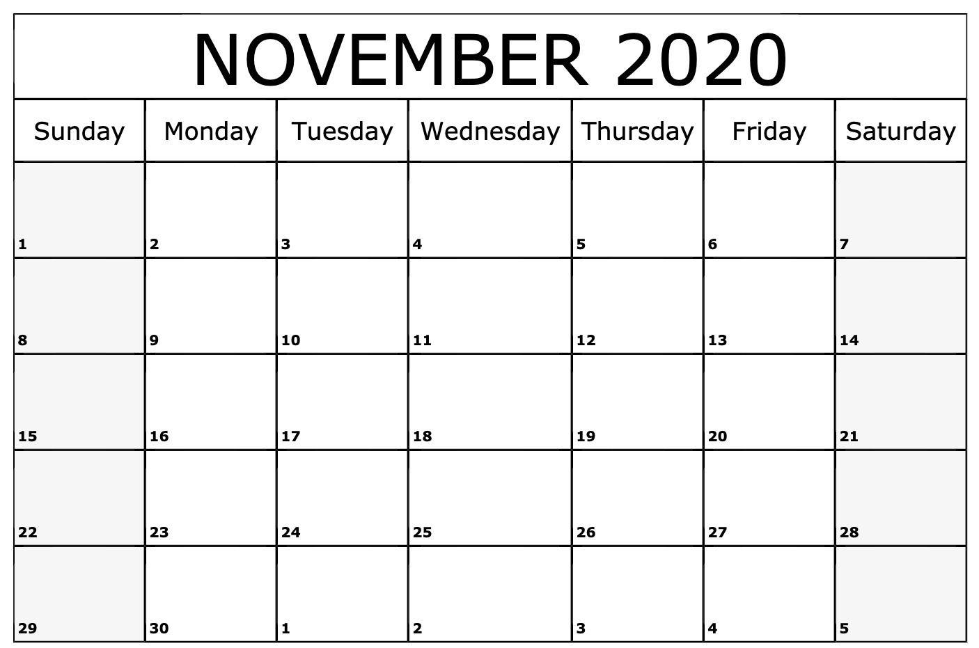 November 2020 Calendar Printable Template | July Calendar