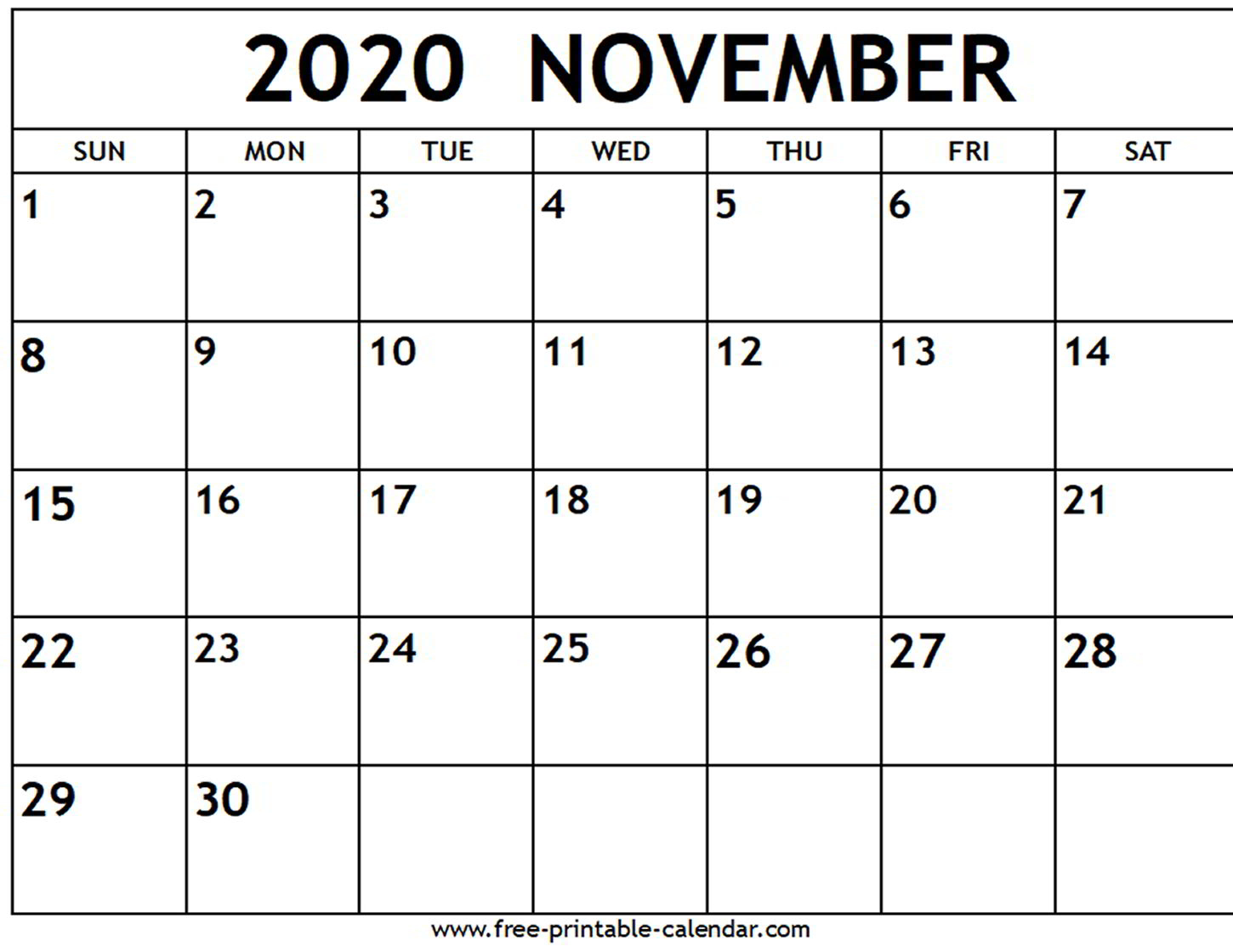 November 2020 Calendar With Holidays Printable - Wpart.co
