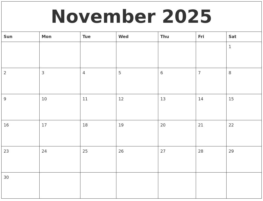 November 2025 Free Monthly Printable Calendar
