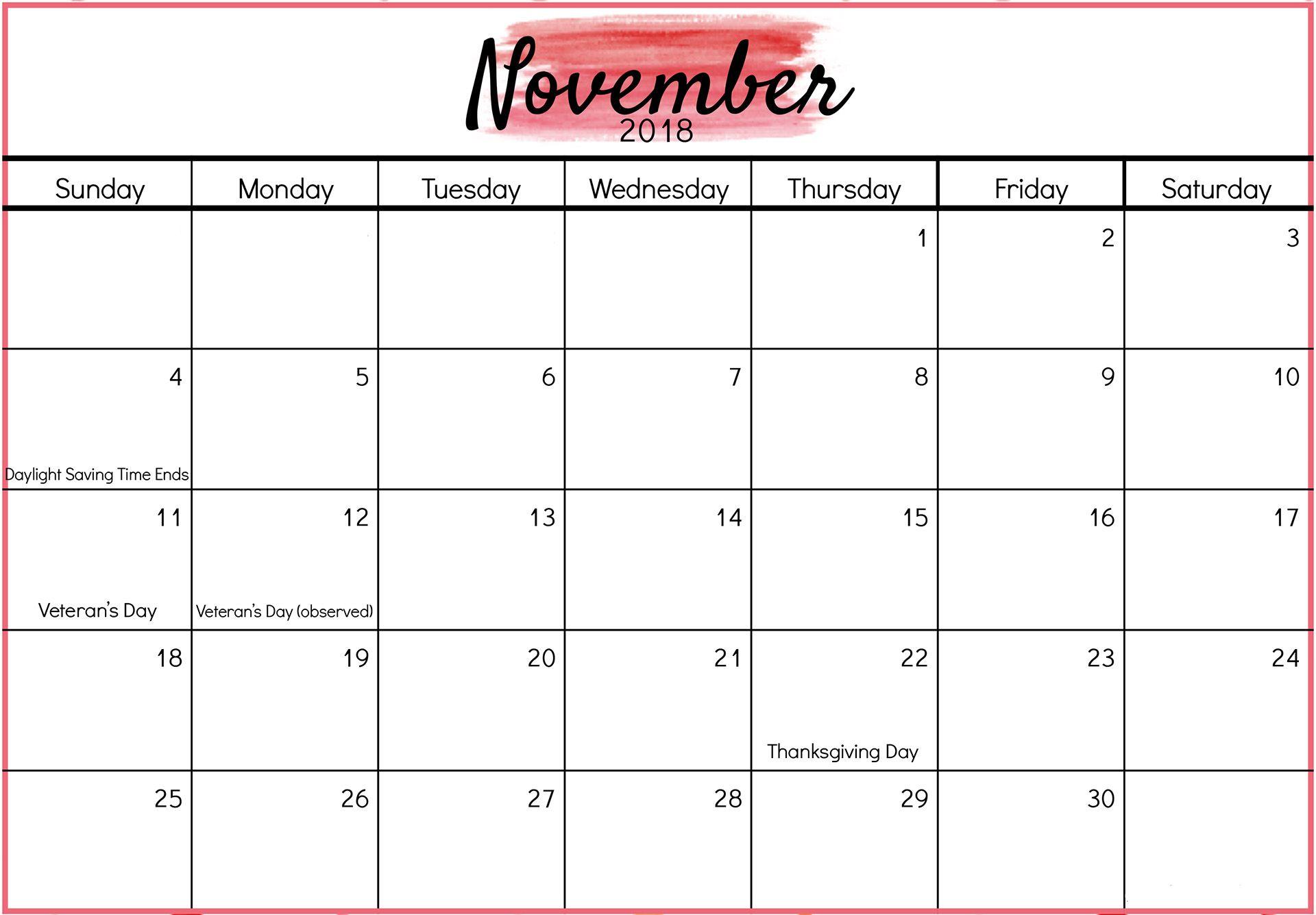 November Calendar 2018 Printable #calendar #november