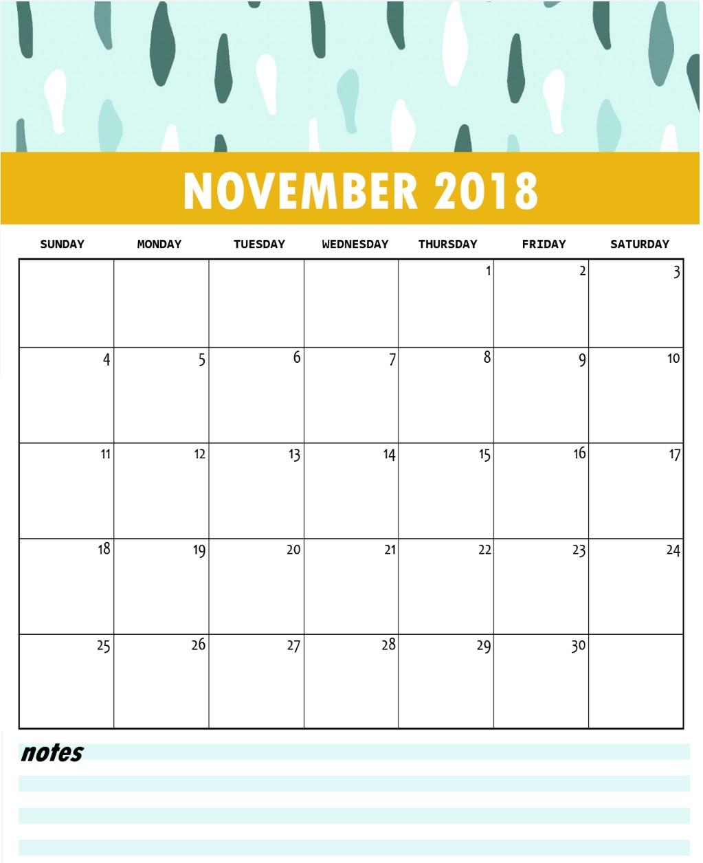 November Calendar 2018 Vertical - Free Printable Calendar